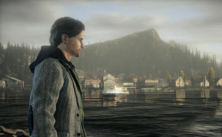 Alan wake frente al lago al principio del juego