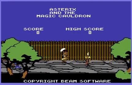 Pantalla de inicio de asterix y el caldero mágico para commodore 64